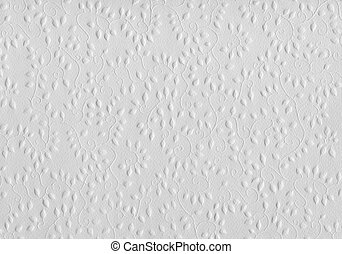 White flowers & paper - Embossed pattern with floral designs...