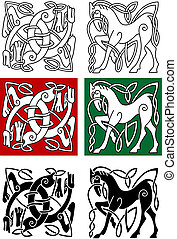 Celtic horse and abstract monster with ornament in medieval...
