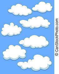 caricatura, blanco, nubes, cielo