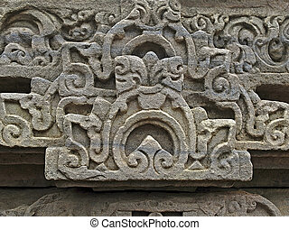 Sanchi - Carved part of Temple Forty five, 45 at Sanchi...