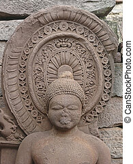 Sanchi - Sculpture of Buddha at temple Forty-five, 45 at...