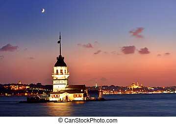 Maiden's Tower view at night with crescent. Istanbul Turkey...