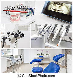 At the dentists - collage - Collage of dentists equipment in...