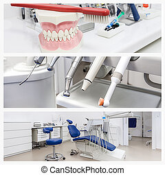 Photos of a dentist's office - Jaw, drillers and a dental...