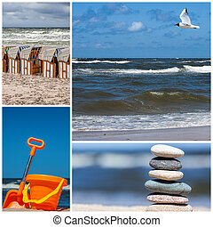 Sea in collage - Four photos of sea and beach, collage