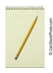 Stenographer's, pad, yellow, pencil