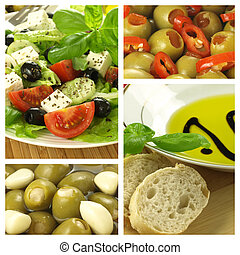 Collage of Mediterranean dishes - Four photos of...