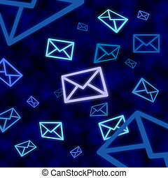Email message icons floating in blue cyberspace - Email...