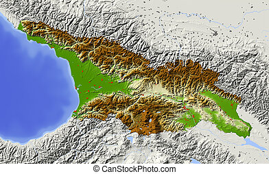 Georgia, Republic, shaded relief map - Georgi, caucasian...