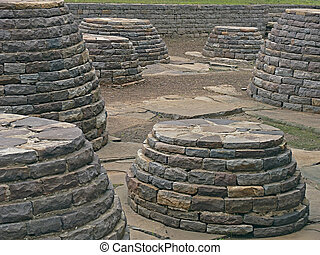 Sanchi - Small sized Stupas Between Stupa One Three