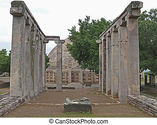 Sanchi - Pillars of Temple Eighteen, 18, near Sanchi Stupa...