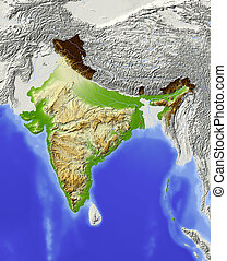 India, shaded relief map - India Shaded relief map with...