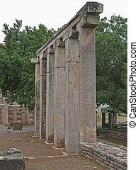 Pillars of Temple Eighteen, 18, near Sanchi Stupa. Madhya...