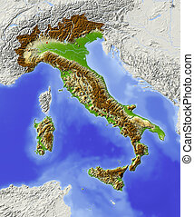 Italy, shaded relief map - Italy Shaded relief map with...