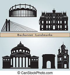 Bucharest landmarks and monuments isolated on blue...
