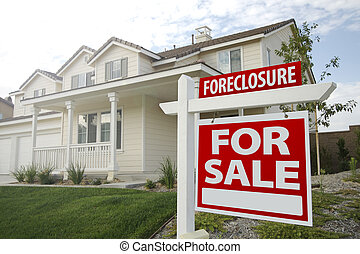 Foreclosure Home For Sale Sign and House with Dramatic Sky...