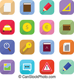 Flat Web Icons - Set of web icons. Vector flat design