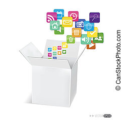 Box with cloud of colorful application icons. Vector...