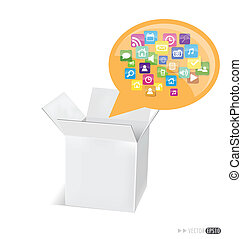 Box with cloud of colorful application icons. Vector illustration.