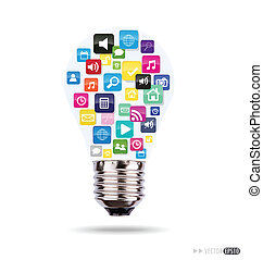 Bulb with cloud of colorful application icons. Vector...