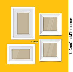 Picture frames on yellow wall. Vector EPS10
