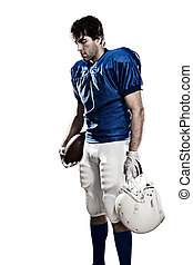 Football Player with a blue uniform and a ball in the hand...