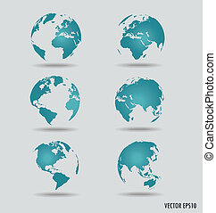 Set of modern globes Vector Illustration