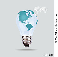 Illustration of an electric light bulb with a world map...