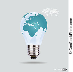 Illustration of an electric light bulb with a world map....