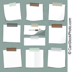 Set of various note papers, ready for your message Vector...