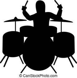 Silhouette of drummer playing the drum kit