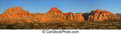 Moon over Red Rock Canyon, Nevada at sunrise - Dramatic view...