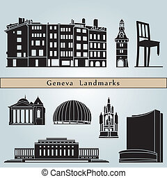 Geneva landmarks and monuments isolated on blue background...