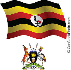 uganda wavy flag and coat of arm against white background,...