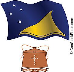 tokelau wavy flag and coat of arm against white background,...