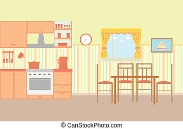 Illustration of kitchen with kitchen furniture -...