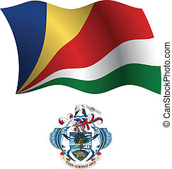 seychelles wavy flag and coat of arm against white...