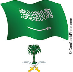 saudi arabia wavy flag and coat of arm against white...