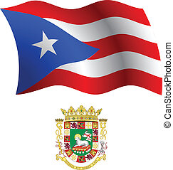 puerto rico wavy flag and coat of arm against white...