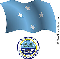micronesia wavy flag and coat of arm against white...