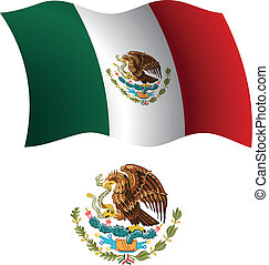 mexico wavy flag and coat - united mexican states wavy flag...