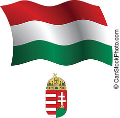 hungary wavy flag and coat of arms against white background,...