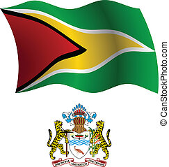 guyana wavy flag and coat of arms against white background,...