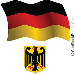 germany wavy flag and coat of arms against white background,...