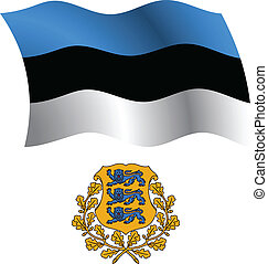 estonia wavy flag and coat of arms against white background,...
