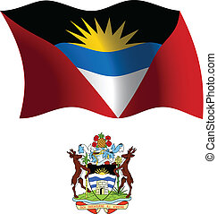 antigua and barbuda wavy flag and coat