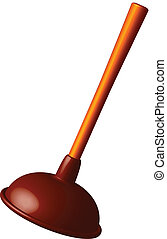toilet plunger against white background, abstract vector art...