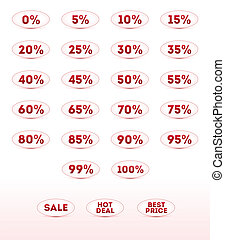 Retail sale percents, vector icons set for your design