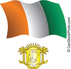 cote d'ivoire wavy flag and coat of arms against white...