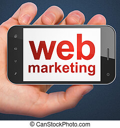 SEO web development concept: Web Marketing on smartphone -...
